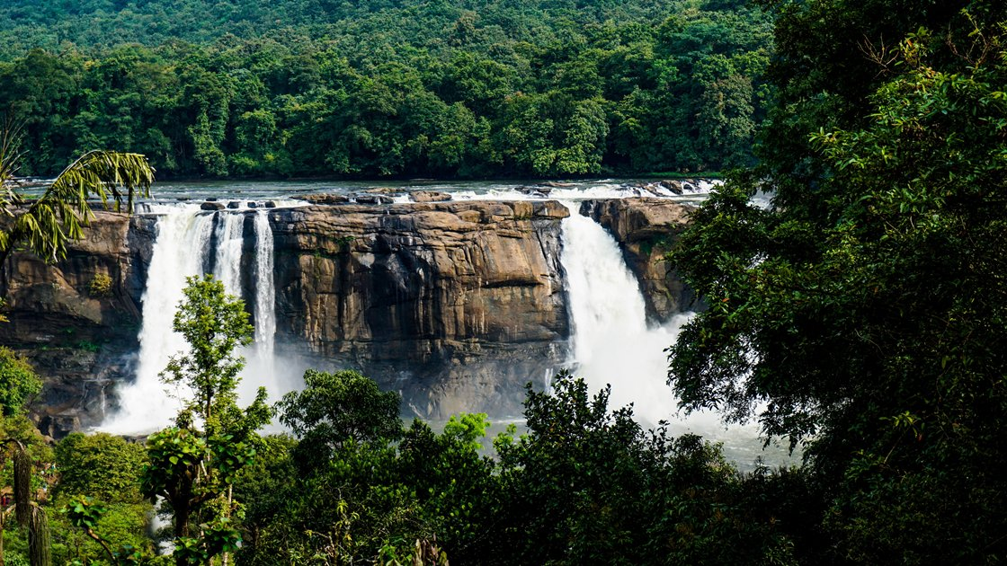 Gushing waterfalls in the jungle