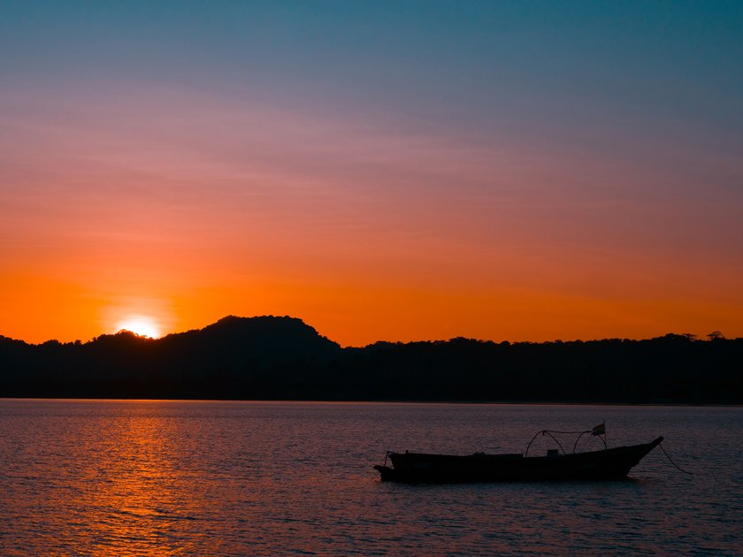 Silhouette of a boat in Andaman