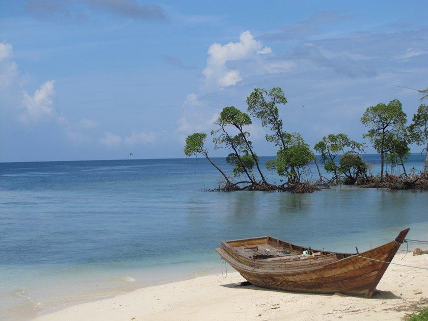 Wooden empty boat on the shores of Andaman