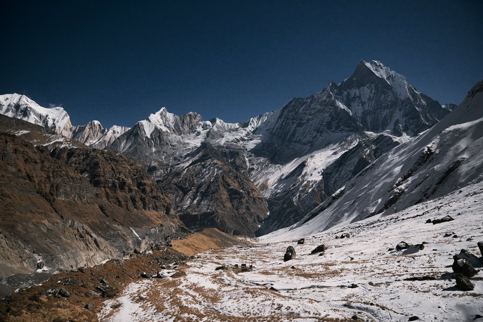 Mighty ranges of snow-capped himalayas